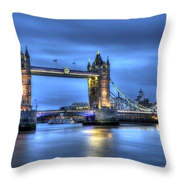 Tower Bridge London Blue Hour Throw Pillow by Shawn Everhart