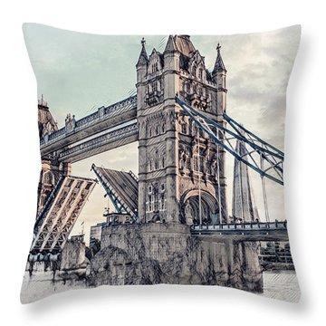 Throw Pillow featuring the digital art Tower Bridge by Pennie  McCracken