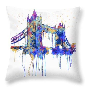 Tower Bridge Watercolor Throw Pillow