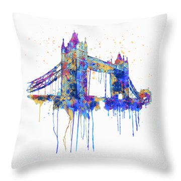 Tower Bridge Watercolor Throw Pillow by Marian Voicu