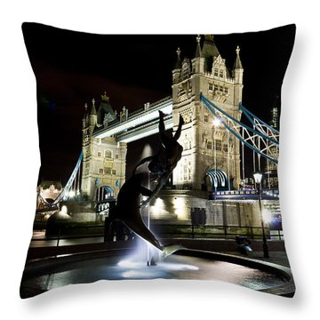 Tower Bridge With Girl And Dolphin Statue Throw Pillow