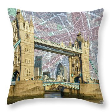 Throw Pillow featuring the digital art Tower Bridge With Union Jack by Adam Spencer