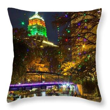 Tower Life Riverwalk Christmas Throw Pillow