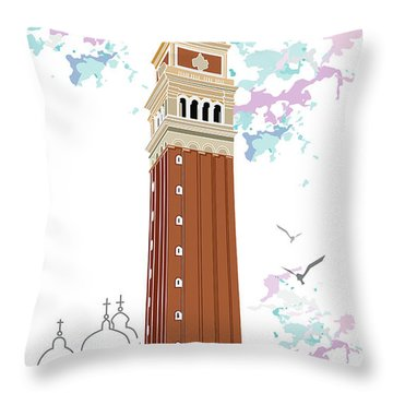 Tower Of Campanile In Venice Throw Pillow