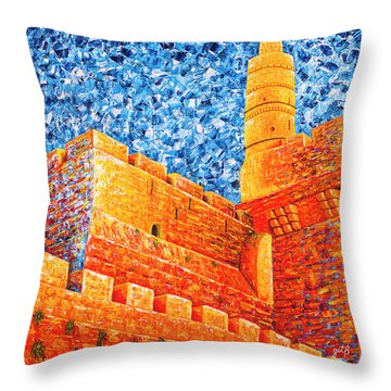 Throw Pillow featuring the painting Tower Of David At Night Jerusalem Original Palette Knife Painting by Georgeta Blanaru