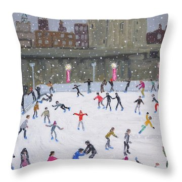 Tower Of London Ice Rink Throw Pillow by Andrew Macara