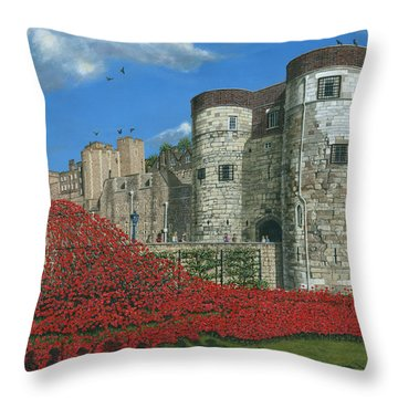 Tower Of London Poppies - Blood Swept Lands And Seas Of Red  Throw Pillow by Richard Harpum