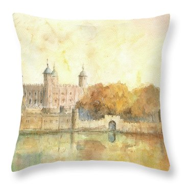 Tower Of London Watercolor Throw Pillow by Juan Bosco