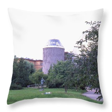 Tower Of The Future, Statue And Lying Woman Throw Pillow