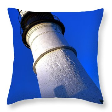 Throw Pillow featuring the photograph Towering Portland Head Light by Olivier Le Queinec