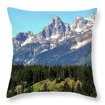 Towering Teton Range  Throw Pillow