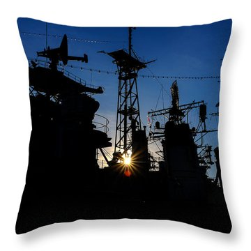 Towers And The Falling Sun Throw Pillow