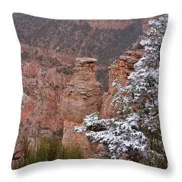 Towers In The Snow Throw Pillow by Debby Pueschel