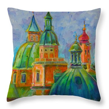 Throw Pillow featuring the painting Towers Of Salzburg by Chris Brandley
