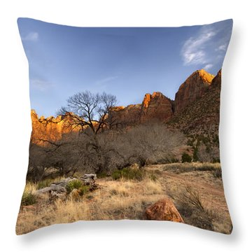 Towers Of The Virgin Throw Pillow