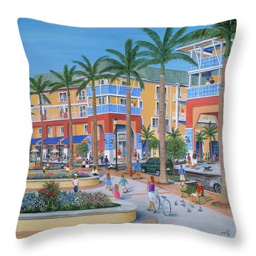 Town Center Abacoa Jupiter Throw Pillow by Marilyn Dunlap
