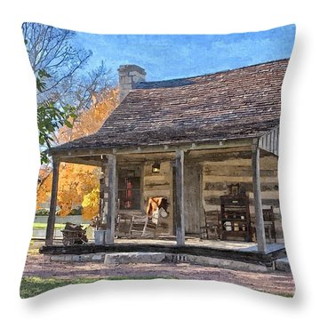 Town Creek Log Cabin In Fall Throw Pillow