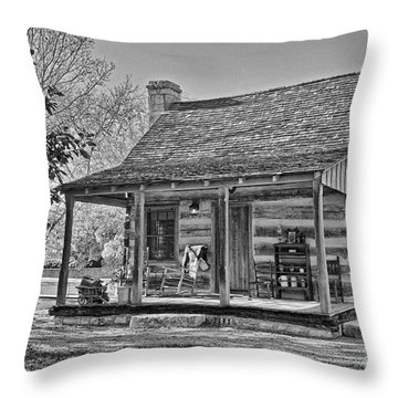 Town Creek Log Cabin In Fall_2 Throw Pillow