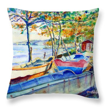 Town Fishery Throw Pillow by Estela Robles