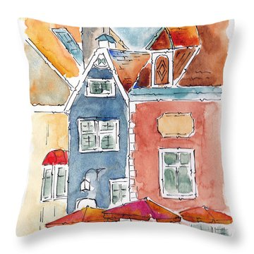 Town Hall Square Tallin Estonia Throw Pillow