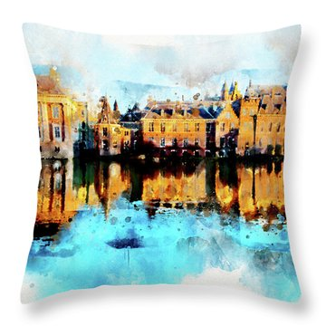 Town Life In Watercolor Style Throw Pillow