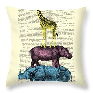 Safari Animals Town Musicians Of Bremen Parody Throw Pillow