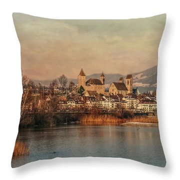 Throw Pillow featuring the photograph Town Of Roses by Hanny Heim