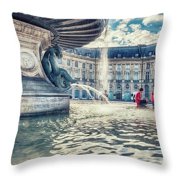 Throw Pillow featuring the photograph Town Square In Bordeaux City - De La Bourse S Founta by Ariadna De Raadt
