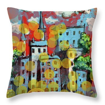 Town With A School Bus Throw Pillow by Maxim Komissarchik