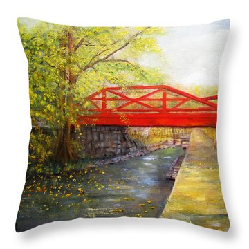 Towpath In New Hope Throw Pillow