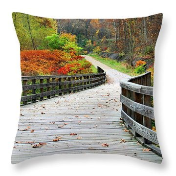 Towpath In Summit County Ohio Throw Pillow by Kristin Elmquist