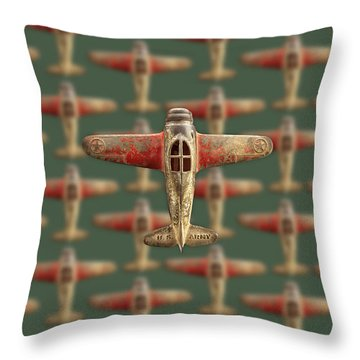 Toy Airplane Scrapper Pattern Throw Pillow by YoPedro