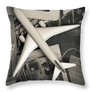 Toy Airplane Vintage Travel Throw Pillow by Edward Fielding