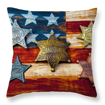 Toy Badges On America Flag Throw Pillow