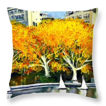 Toy Boats In The Park Throw Pillow