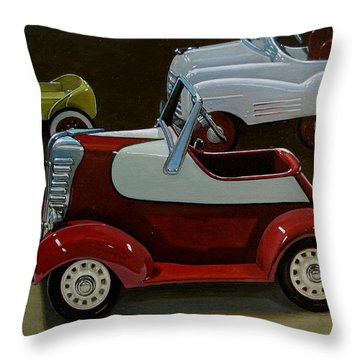 Toy Pedal Cars Throw Pillow by Doug Strickland
