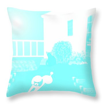 Toy Poodle Louie And Black Cat Jessica In The Yard Throw Pillow