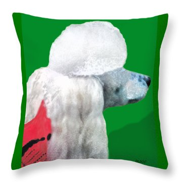 Toy Poodle Louie In His Red Sweater Throw Pillow