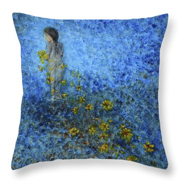 Traces Sunflowers Lost Throw Pillow