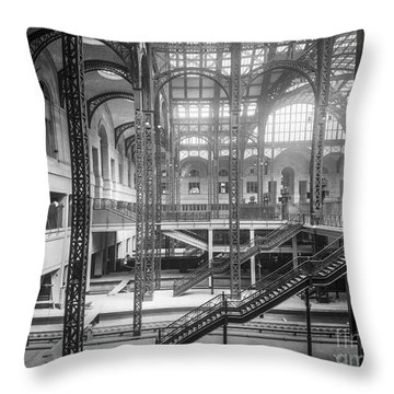 Track Level And Concourses Pennsylvania Station New York Throw Pillow