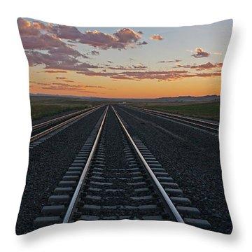 Tracks Into Sunset Throw Pillow