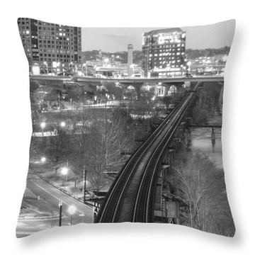 Tracks Into The City Throw Pillow