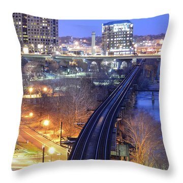 Tracks Into The City Color Throw Pillow