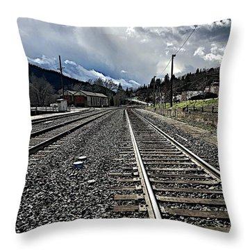 Tracks Throw Pillow by JoAnn Lense