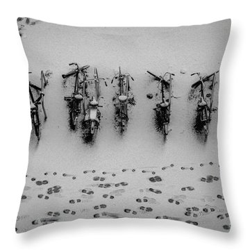 Tracks N Bicycles Throw Pillow