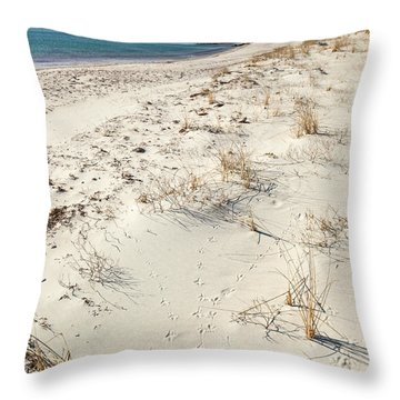 Throw Pillow featuring the photograph Tracks On The Beach by Michelle Wiarda
