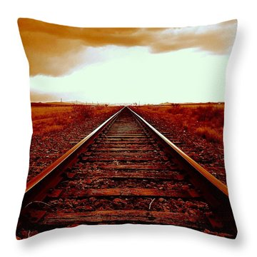 Marfa Texas America Southwest Tracks To California Throw Pillow by Michael Hoard