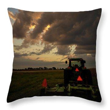 Tractor At Sunrise - Chester Nebraska Throw Pillow