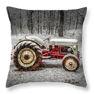 Tractor In The Snow Throw Pillow by Doug Long