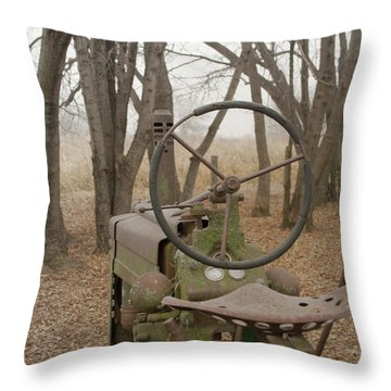 Tractor Morning Throw Pillow